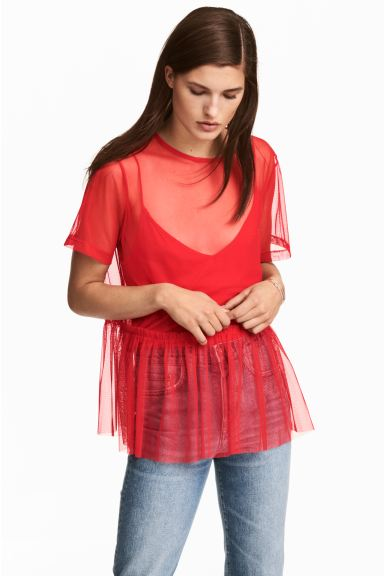 Mesh top - Red - Ladies | H&M IE