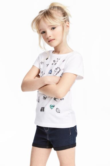 Printed top - White/Unicorn - Kids | H&M GB