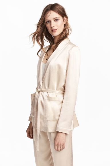 Tie-belt satin jacket - Light beige - Ladies | H&M GB