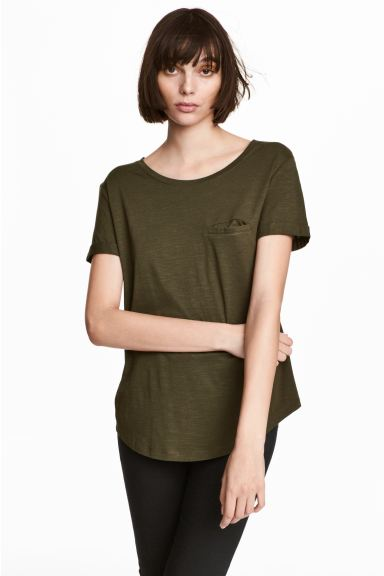 Round-neck T-shirt - Khaki green - Ladies | H&M US