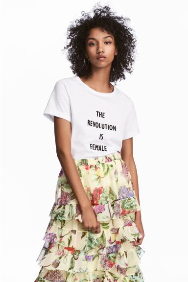 T-shirt met flockprint - Wit - DAMES | H&M BE