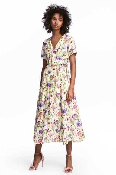 Patterned wrap dress - Light yellow/Floral - Ladies | H&M CA