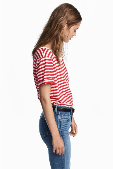Striped jersey top - Red/White - Ladies | H&M CA
