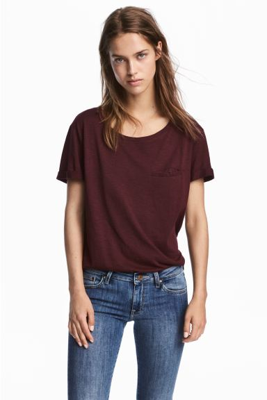 Round-neck T-shirt - Burgundy melange - Ladies | H&M US
