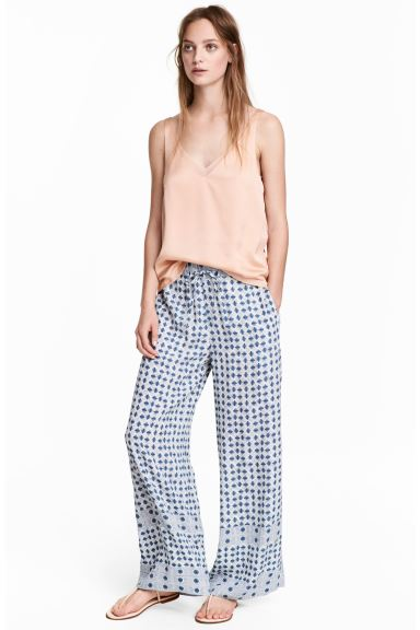 Wide trousers - Blue/White/Checked - Ladies | H&M GB