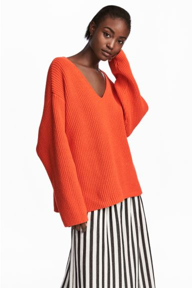 Ribbed jumper - Orange - Ladies | H&M GB