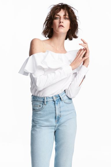 One-shoulder blouse - White - Ladies | H&M GB