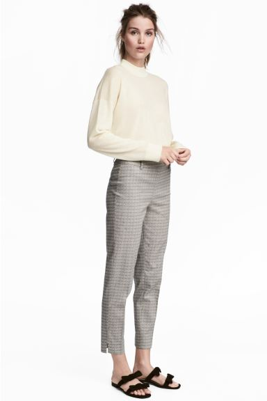 Tailored trousers - Light beige/Pattern - Ladies | H&M GB