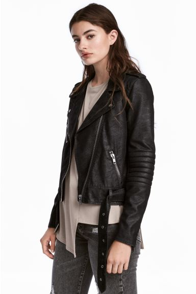 Biker jacket - Black/Textured - Ladies | H&M GB