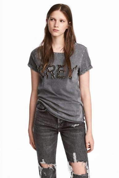 T-shirt with a motif - Dark grey - Ladies | H&M CA