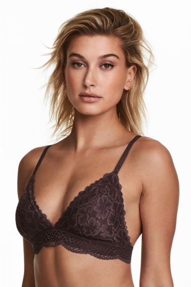 Non-wired lace bra - Brown - Ladies | H&M GB