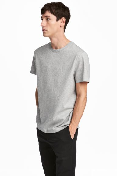 Pima cotton T-shirt - Grey marl - Men | H&M GB
