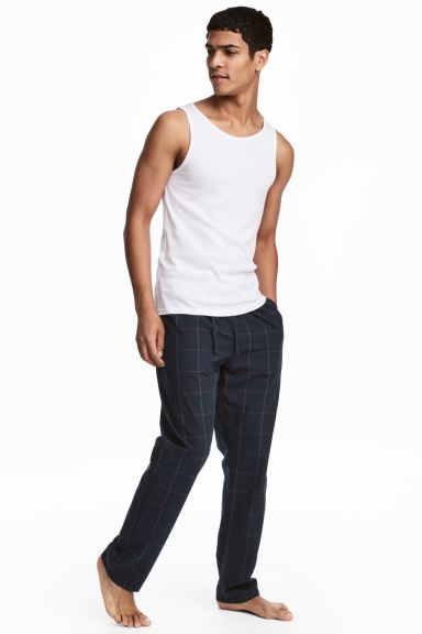 Pyjama bottoms - Dark blue/Red checked - Men | H&M
