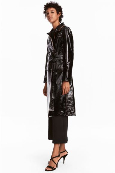 Double-breasted leather coat - Black - Ladies | H&M GB