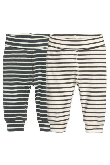 2-pack leggings - Natural white/Striped - Kids | H&M GB