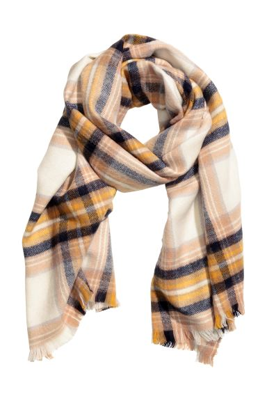 Block-print scarf - Natural white/Checked - Ladies | H&M CA
