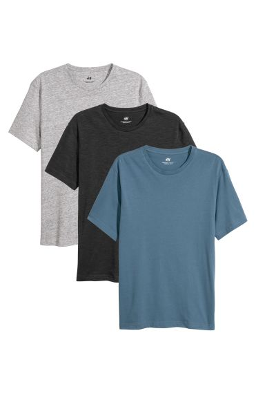3-pack T-shirts Regular Fit - Blue - Men | H&M