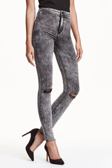 Skinny High Ankle Ripped Jeans - Nearly black - Ladies | H&M GB