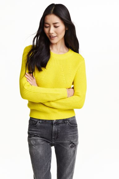 Knitted jumper - Yellow - Ladies | H&M GB