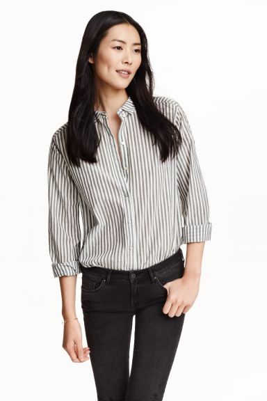 Cotton shirt - Black/White/Striped - Ladies | H&M GB