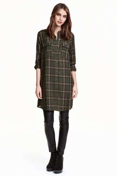 Shirt dress - Khaki green/Checked - Ladies | H&M GB