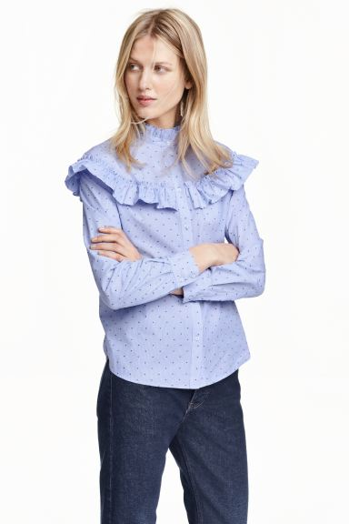 Blouse with frills - Blue/Spotted - Ladies | H&M GB