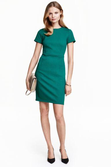 Textured Dress Dark Green Las