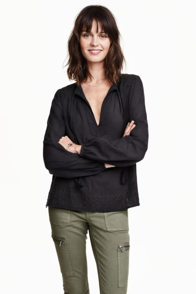 Embroidered cotton blouse - Black - Ladies | H&M GB