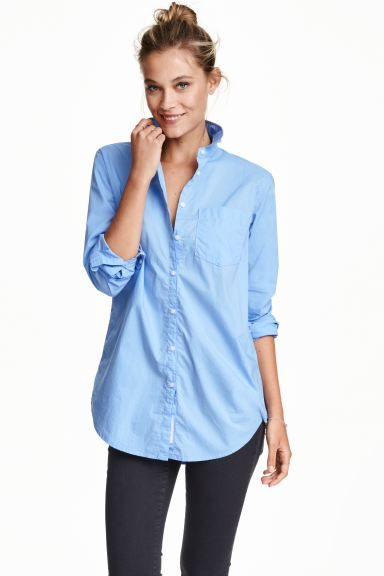 Long cotton shirt - Light blue - Ladies | H&M GB