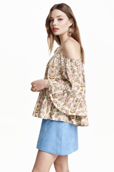 Off-the-shoulder blouse - Natural white/Floral - Ladies | H&M GB