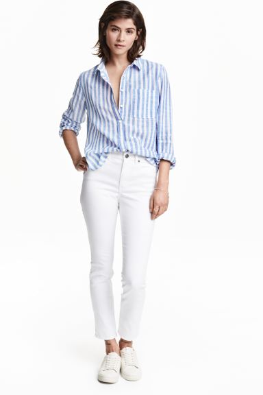 Twill trousers Cropped - White - Ladies | H&M GB