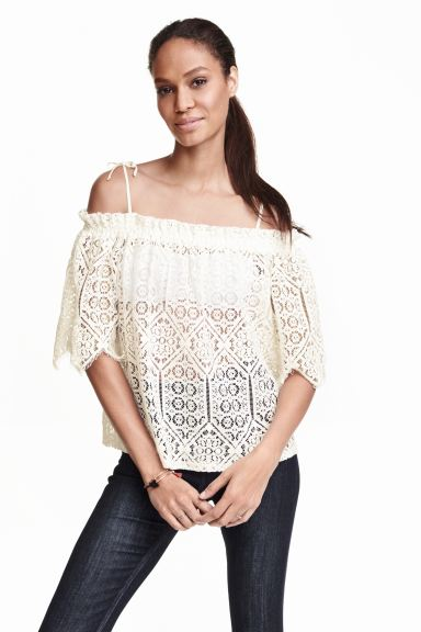 Lace off-the-shoulder blouse - White - Ladies | H&M GB