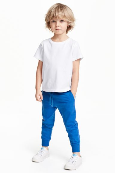 Cotton jersey joggers - Cornflower blue - Kids | H&M