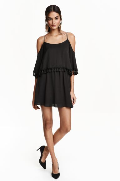 Off-the-shoulder dress - Black - Ladies | H&M GB