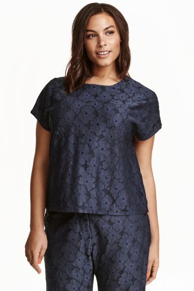 H&M+ Lace top - Dark blue - Ladies | H&M GB