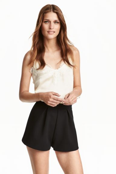 Satin strappy top with lace - Natural white - Ladies | H&M IE