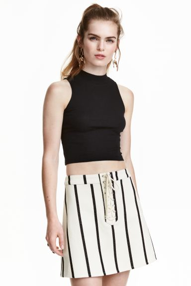 Skirt with lacing - Natural white/Striped - Ladies | H&M GB