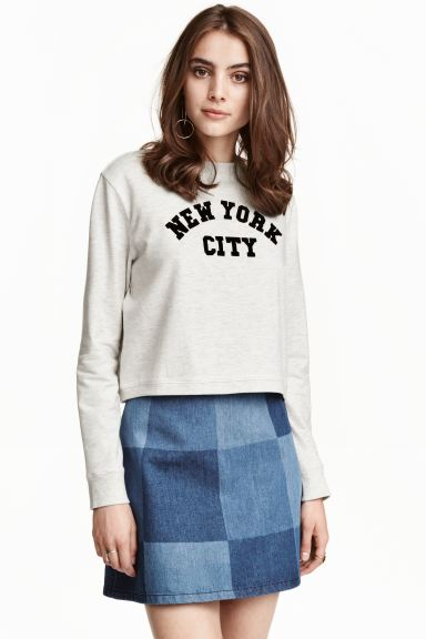 Printed sweatshirt - Light grey/New York - Ladies | H&M GB