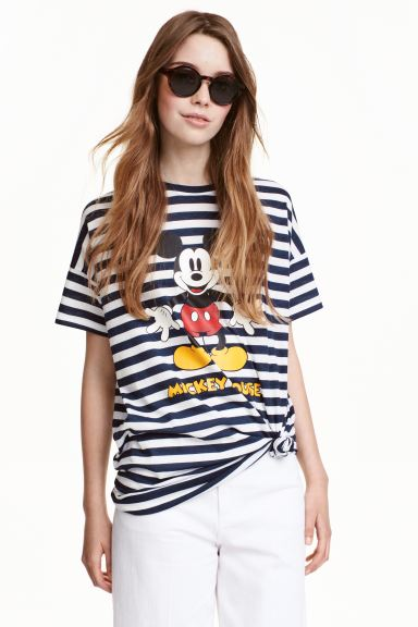 Patterned T-shirt - Dark blue/Mickey Mouse - Ladies | H&M GB