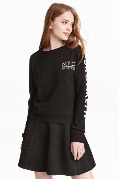 Printed sweatshirt - Black - Ladies | H&M GB