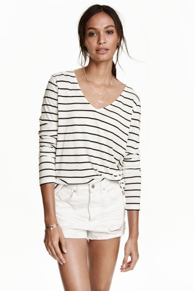 V-neck jersey top - White/Striped - Ladies | H&M IE