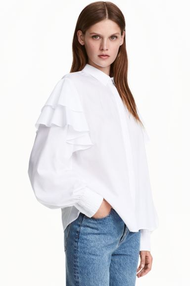 Frilled cotton blouse - White - Ladies | H&M GB