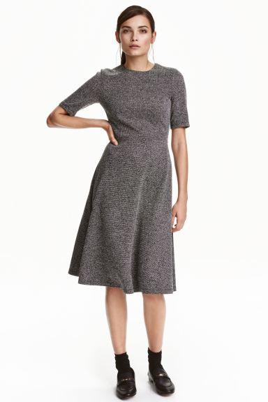Textured Dress Black White Marl