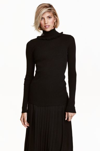 Frilled polo-neck jumper - Black - Ladies | H&M GB