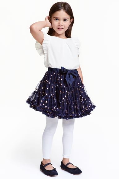 Tulle skirt with a bow - Dark blue - Kids | H&M GB