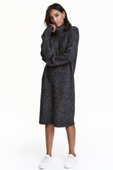 Knitted turtleneck dress - Black marl - Ladies | H&M GB