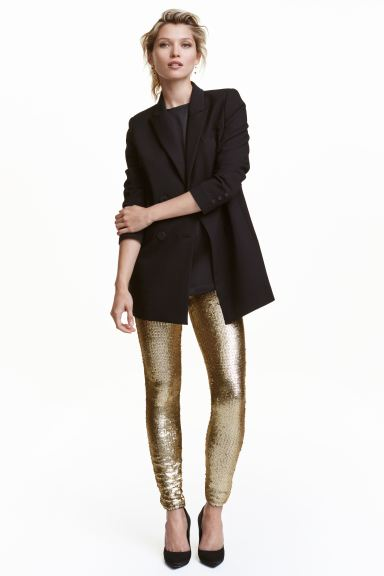 Leggings con paillettes - Dorato - DONNA | H&M IT