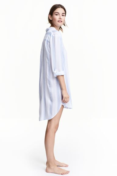 Viscose nightshirt - White/Blue striped - Ladies | H&M GB