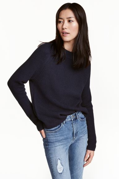 Knitted jumper - Dark blue - Ladies | H&M