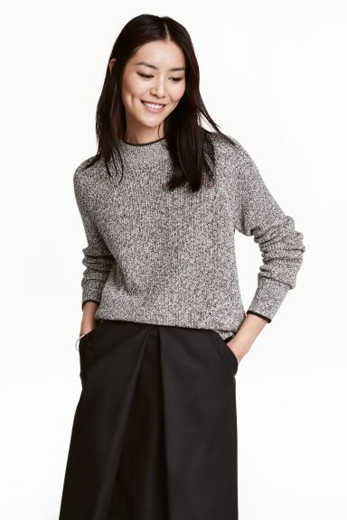 Knitted jumper - Black/White marl - Ladies | H&M